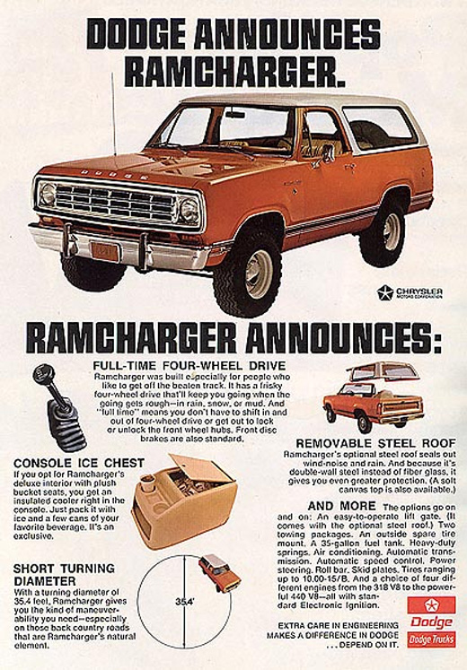 1974 Dodge Ramcharger Advertisement.